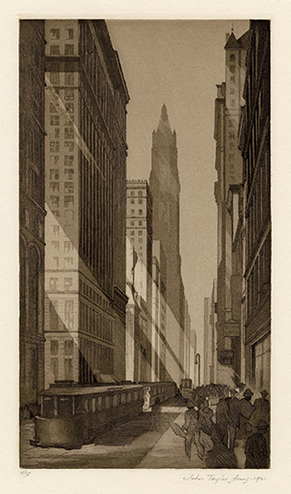 New York City Downtown, Skyline, Urban Landscape, Modernism, Streetcar, Skyscraper, aquatint