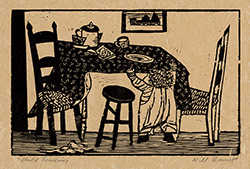 WPA, Woodcut, Child, Kitchen Table, Home, Graphic Modernism