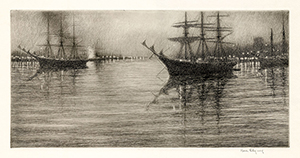 Three Masted Ships, Harbor Connecticut, Nocturne, Evening