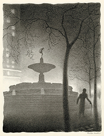 Pulitzer Fountain, Evening, Nocture, New York City, Central Park