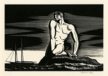 Male nude, water, ship, boat, mysticism, modernism