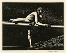 Man, Male Nude, Starry Night, Sea, Mysticism, Modernism, Wood Engraving
