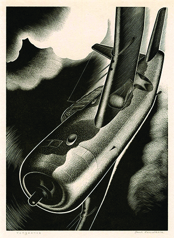 World War II. WWII, Modernism, Dive Bomber, Airplane, wood engraving