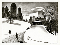New York City, Central Park, winter, snow scene, children, play