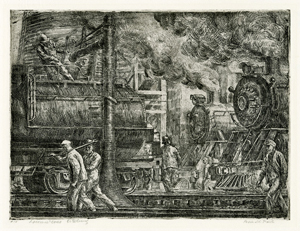 Great Depression, Ashcan, New York, Locomotives, Trains, Steam Engine, Railroad Workers, Social Realism