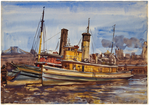 Tugboats, East River New York, Brooklyn Bridge, American Scene, Social Realism