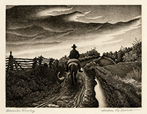 Regionalism, mid-west, country, man on horseback, dog, country road