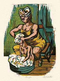 Mother and Child, Domestic Life, WPA Art Project, Washing, Bath, Shampoo, Color Woodcut